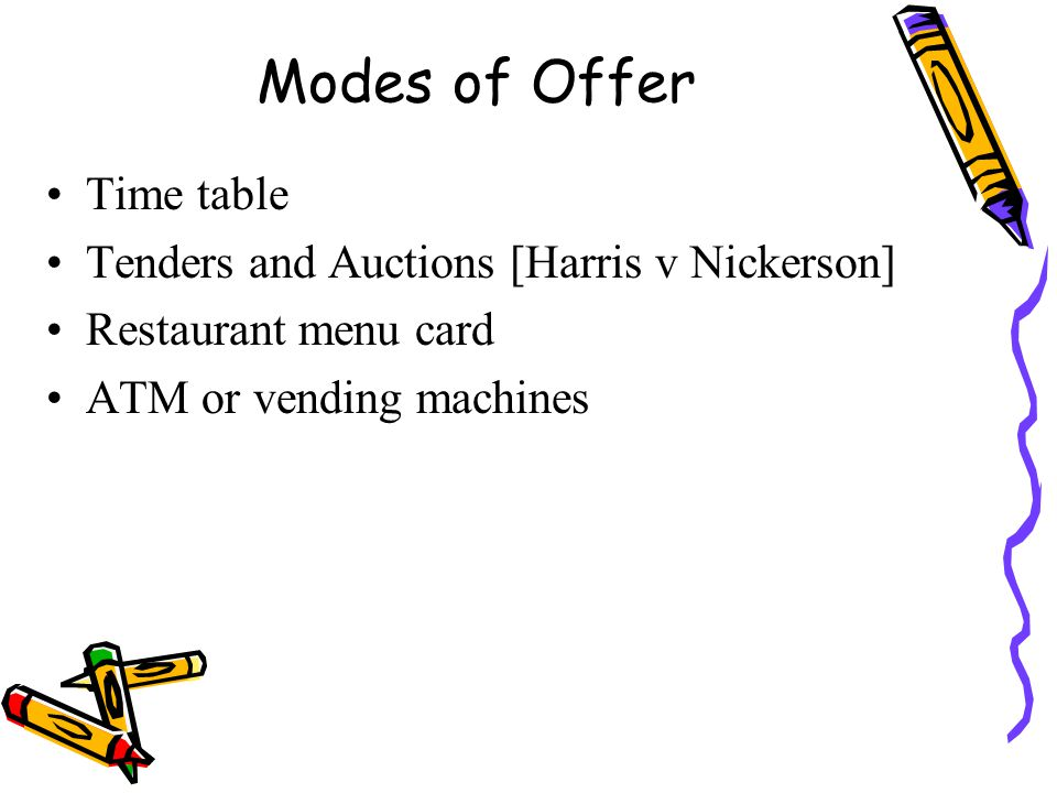 Modes of Offer Time table Tenders and Auctions [Harris v Nickerson]